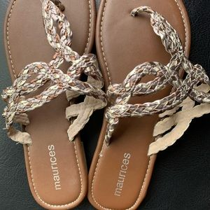 Silver and bronze braided sandals 9/10